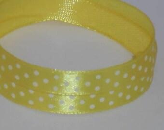5 m ruban satin jaune à pois blanc largeur 9 / 10 mm