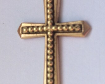 Antique French 18ct Gold Beaded Detail Cross Pendant.