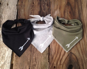 Set of 3 Hand Stamped Arrow Bandana Bibs