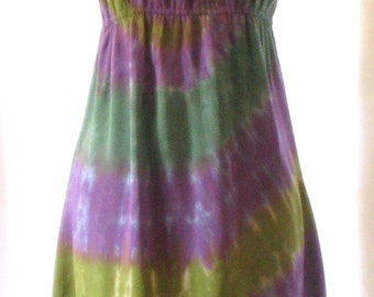 Tie Dye Peasant Dress in Green and Purple Swirl