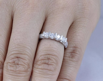 925 Sterling Silver Four-Stone CZ Women's Engagement Ring Band Size 4-11 SS776