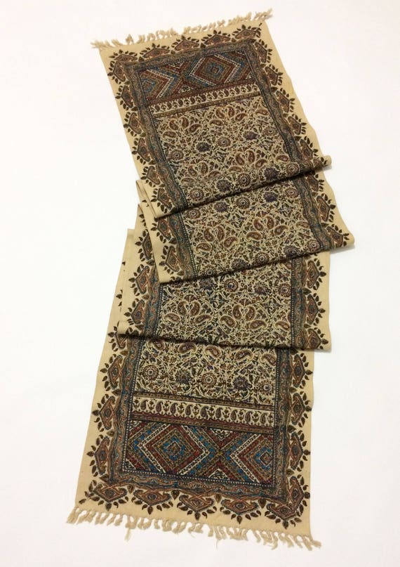 """Table runner 94"""" inches long , traditional hand block printed table runner, wall decor, natural dyes with tassels"""