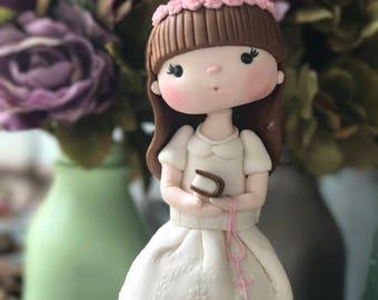 First communion little girl cake topper