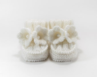 Baby Booties, Hand Knitted with Crochet Bell Flowers - White, 3 - 6 months