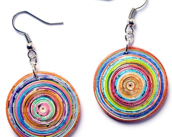 Round Paper Earrings, FREE SHIPPING, Quilled earrings, Circle earrings, Upcycled  recycled gift, all season earrings, first anniversary gift