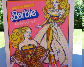 SALE Vintage Barbie Doll Case 1980's Barbie Golden Dream Fashion Doll Trunk No. 1004 Mattel Doll Case Barbie Clothes Storage Trunk