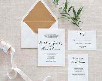 Printable Wedding Invitation Set, Minimalist, Simple Wedding Invitation, Details Card, RSVP Card, Ready to Print JPG or PDF Invitation (002)