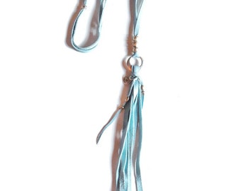 40% OFF Jane necklace (SKY BLUE) - adjustable leather tassel for a simple but effective bohemian western look