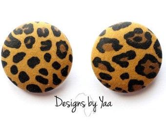 LARGE Cheetah Button Earrings