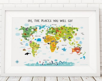 World Map for Kids, Playroom Wall Decor, World Map Poster,Oh, The Places You Will Go, Baby Gift, Playroom Wall Art, Kids Playroom
