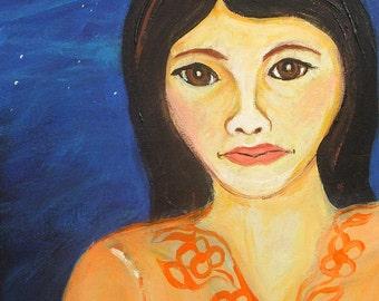 acrylic portrait  painting on repurposed wood, Evening original art by Elisa Alvarado