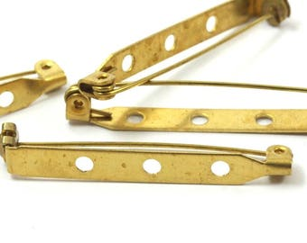 Brass Brooch Pin, 20 Raw Brass Brooch Pin Back Base Safety Pins With 3 Holes (39mm) A0526