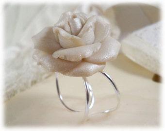 Large White Rose Ring - White Rose Jewelry, White Flower Ring