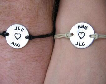 His and Hers bracelets (set of 2) - Couples set - Custom names, Custom Bracelets - Gift Him - Gift Her - Stocking stuffer