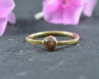 Rose Cut Natural Red Diamond Stacking Ring // 14k Yellow Gold Jewelry // Diamond Ring // Alternative Engagement Ring // Village Silversmith