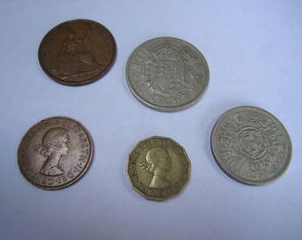 Collectable Coins, British Coins 1944 - 1966. Excellent condition, half penny, half crown, silver shilling, job lot.