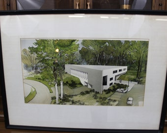 Mid Century Modern 1960's architectural drawing