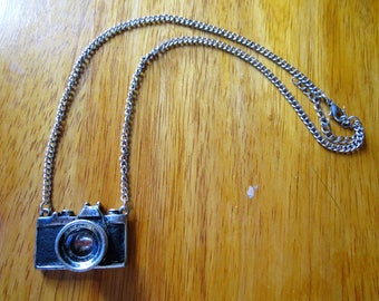 Nifty pewter camera necklace on silver chain