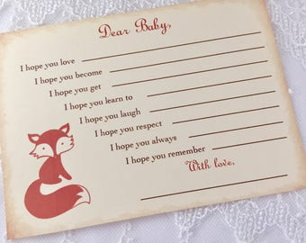 Fox Wish Cards Dear Baby Shower Activity Game Cards Set of 10