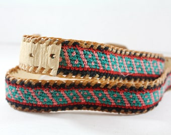 Leather Belt Hand Crafted Ethnic Leather and Woven Unworn Size 34