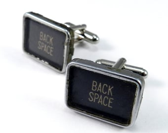 Real Typewriter Cufflinks, Back Space, Square TYPEWRITER Key Cuff links, Real Typewriter Cufflinks - Larger Size