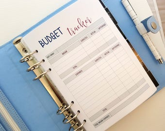 A5 BUDGET planner inserts   printed inserts    Budget and Finance   Spending and Income tracker   For large Kikki k or Filofax a5 planner