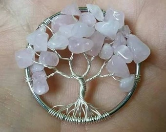 Rose Quartz Tree of Life pendant necklace