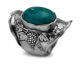 Ring sterling silver with Turquoise Floral Nature Design