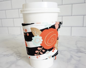 Reusable Coffee Sleeve-Stripe Floral Print