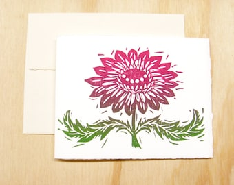 Single Card - Magenta Pink Flower Card - 1 Block Printed Card - Mothers Day