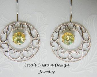 Mystic Topaz sterling silver filigree dangle Earrings