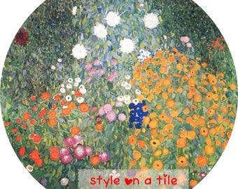 "Lovely Gustav Klimt Daisy Aster Petunia Poppy Garden Flowers 9""/23cm design  23cm or 9"" round placemat table mat server centrepiece"