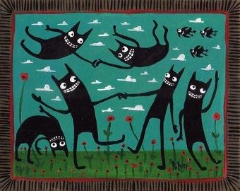 Funny Dancing Black Cats ACEO Print