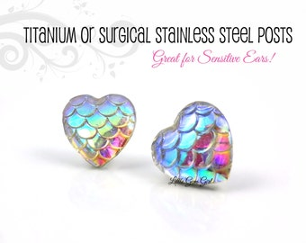 Rainbow Valentine Heart Stud Earrings in Stainless Steel or Titanium Posts for Sensitive Ears - Iridescent Dragon Mermaid Scale Earrings
