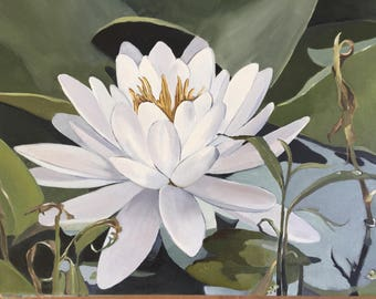 Lotus,11x14 original oil painting, lotus flower art