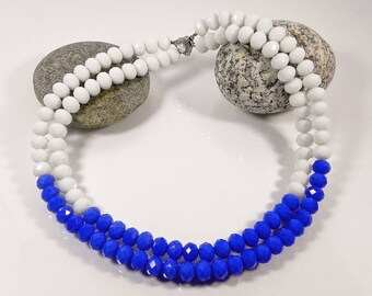 Blue Multistrand Necklace Layered Statement Necklaces For Women White Beaded Necklace Chunky Necklaces Gift for her Handmade Fashion Jewelry