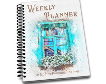 Blue Window: 12 Month Perpetual Planner | Undated Weekly Planner | 2 pages per week | Contacts | Passwords | Notes | Blue Window