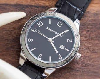 Deer Antler Watch, Metal Wristwatch With Alligator Grain Black Leather Strap, Gift For Hunters, Deer Antler Jewelry, Johan Eduard Watches