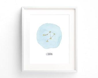 Libra Constellation Print, Zodiac Printable Wall Art, Space Baby Nursery Wall Decor, Yellow Star Bedroom Decor, Star Constellation Art Print