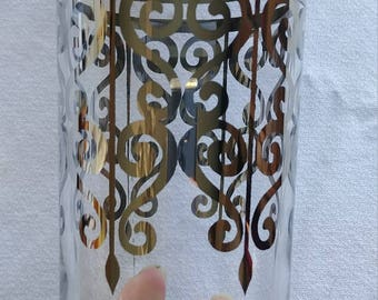 8 silver scroll ombre highball glasses Queens lusterware