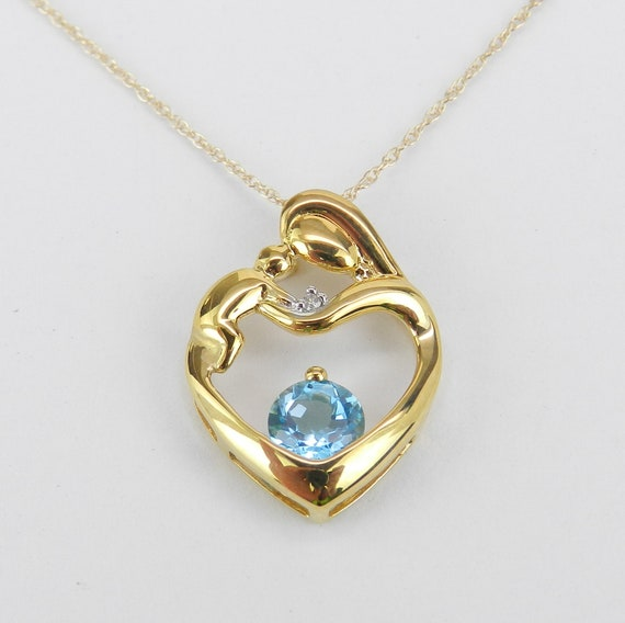 """Mother and Child Blue Topaz Diamond Heart Pendant Necklace Yellow Gold 18"""" Chain"""