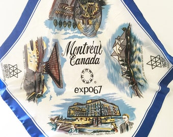 Canada Scarf Souvenir Scarf 1960s Scarf Tourist Scarf Collectible scarf Blue scarf Montreal Expo scarf