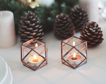 Geometric Candle Holders, Wedding Lights, Wedding Guest Table Decor, Bridesmaid Gift, Stained Glass Hurricane Set, Copper Wedding Decor
