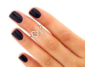 sterling silver knuckle ring ,Clover design above knuckle ring adjustable midi ring (T-20)
