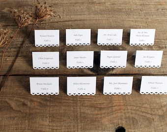 white printed place cards for wedding, shower, party set of 100 - tallulah