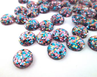 10 12mm Multicolor Resin Glitter Cabochons, mixed color cabs H301