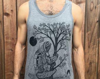 The Slothstronaut - Unisex Bamboo & Organic Cotton Tank Top / Sloth / Nature / Astronaut / Natural / Space / Sci-fi / Tree shirt / Pyramids
