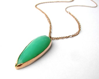 Chrysoprase Necklace Handmade from Recycled 14k Yellow Gold, Pointer Necklace