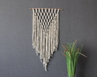 Macrame wall decor - Cotton- Bohemian macrame wall hanging - Wall Art - Boho Macrame home decor - Ivory - Black White, Easter gift