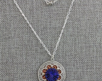 Hand Made Necklace Silver Over Copper Filigree  and Blue Czech Glass